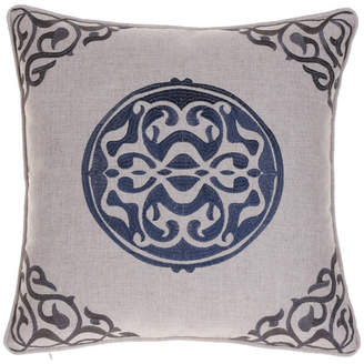 14 Karat Home, Inc. Embroidered Medallion Pillow, Indigo/Iron