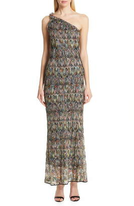 Missoni One-Shoulder Pointelle Maxi Dress