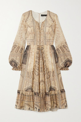 Etro Lace-up Paisley-print Silk And Wool-blend Dress - Beige