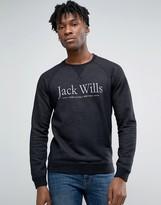 Jack Wills Sweatshirt With Print And Raglan Sleeves In Black
