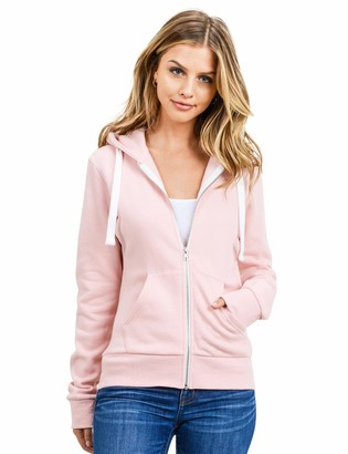 Esstive Women's Ultra Soft Fleece Basic Casual Solid Midweight Zip-Up Hoodie Jacket