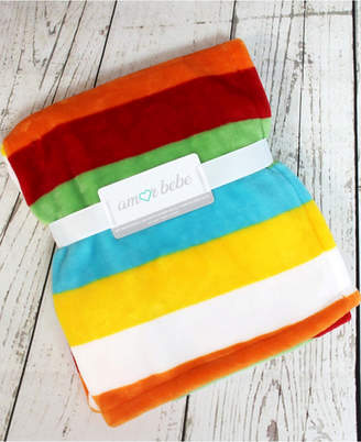 Fleece Baby 3Stories Bright Stripes Coral Blanket