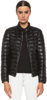 Moncler Delfi Leather Puffer in Black
