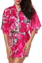 Luxurysmart Peacock Floral Satin Kimono Robe Bridesmaid Robes / Wedding Robe/ Bride Robe Sleepwear Nightgown