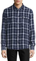 Black Brown 1826 Indigo Bleached Wash Plaid Flannel Shirt