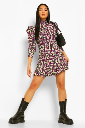 boohoo Petite Volume Sleeve Floral Skater Dress