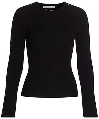 Jonathan Simkhai Hazel Ribbed Cutout Wool-Blend Sweater