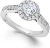 Marchesa Estate Halo by Certified Diamond Engagement Ring in 18k White Gold (1-1/4 ct. t.w.)