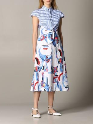 Stella Jean Dress Patterned Dress With Striped Bust