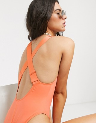 Weekday Soleil swimsuit in coral orange