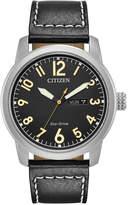 Citizen Men's Eco-Drive Military Black Leather Strap Watch 42mm BM8471-01E