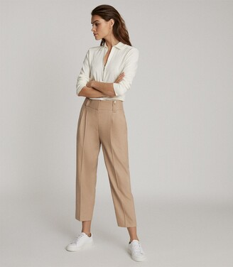 Reiss Esther - Wool Blend Pleat Front Trousers in Camel