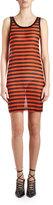 Givenchy Striped Sheer Tank Dress, Black/Orange