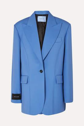 Thierry Mugler Oversized Grain De Poudre Wool Blazer - Blue