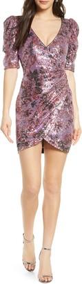 ONE33 SOCIAL Floral Sequin Faux Wrap Minidress