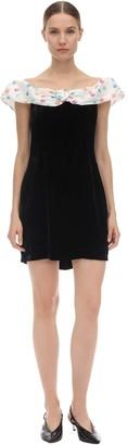 Rixo Florence Off-the-shoulder Velvet Dress