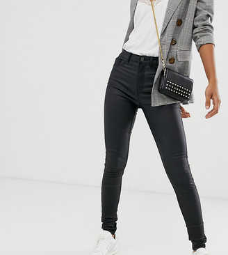 New Look Tall faux leather coated disco jeans in black