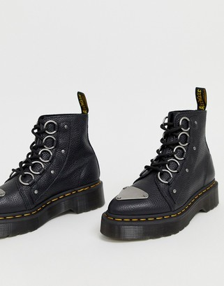 Dr. Martens Farylle ribbon lace chunky leather boots in black