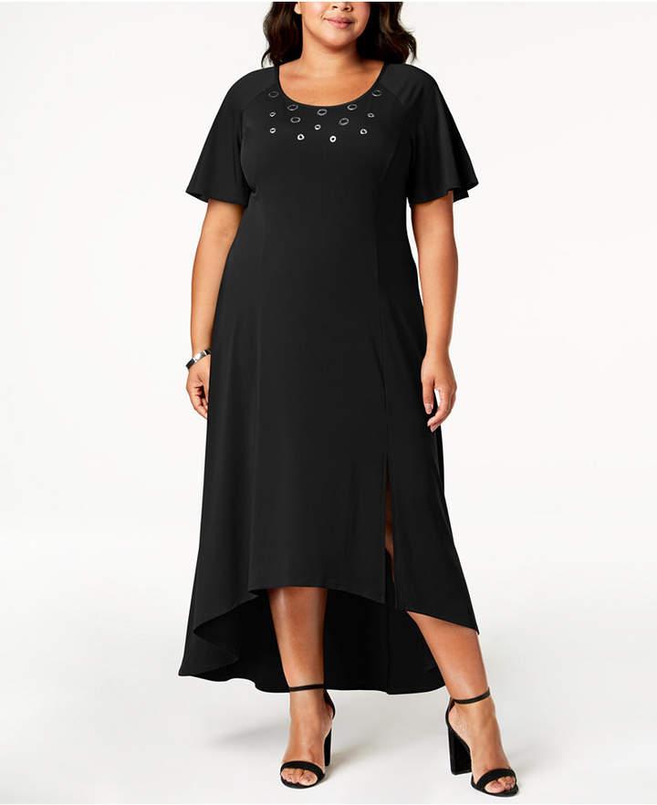 NY Collection Plus Size & Petite Plus Grommet-Trim Maxi Dress