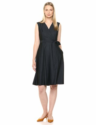 Calvin Klein Women's Sleeveless Midi with Cross Front V-Neckline and Self Belt