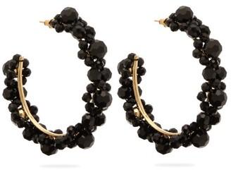 Simone Rocha Large Crystal-daisy Hoop Earrings - Womens - Black