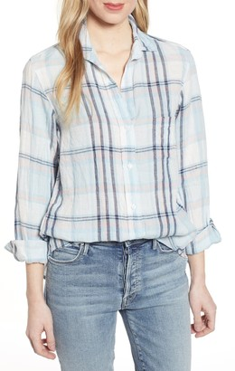 Grayson The Hero Tumbled Plaid Print Linen Shirt