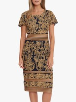 Gina Bacconi Cord Embroidered Knee Length Dress, Navy/Gold