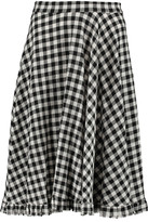 Eight Frayed pleated gingham cotton-blend skirt
