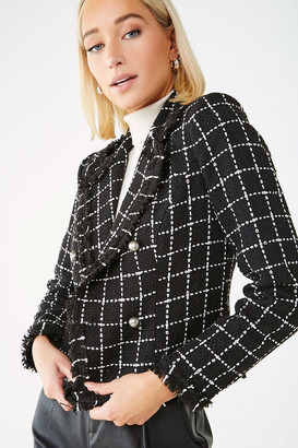 Forever 21 Grid Notched Collar Blazer
