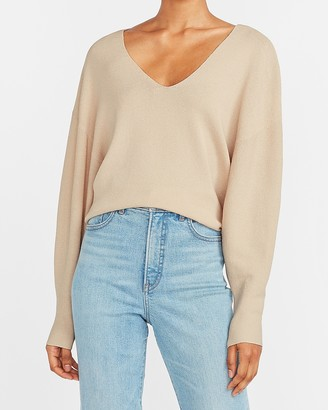 Express Soft Knit Balloon Sleeve V-Neck Sweater