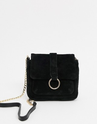 Urban Code Urbancode suede small cross body bag with ring detail in black