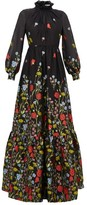Erdem Clementine Floral-embroidered Organza Gown - Womens - Black Multi