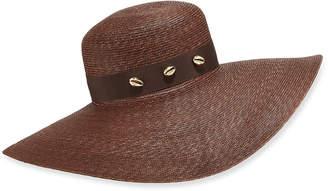 Jane Taylor Large Brimmed Straw Hat w/ Brass Shells