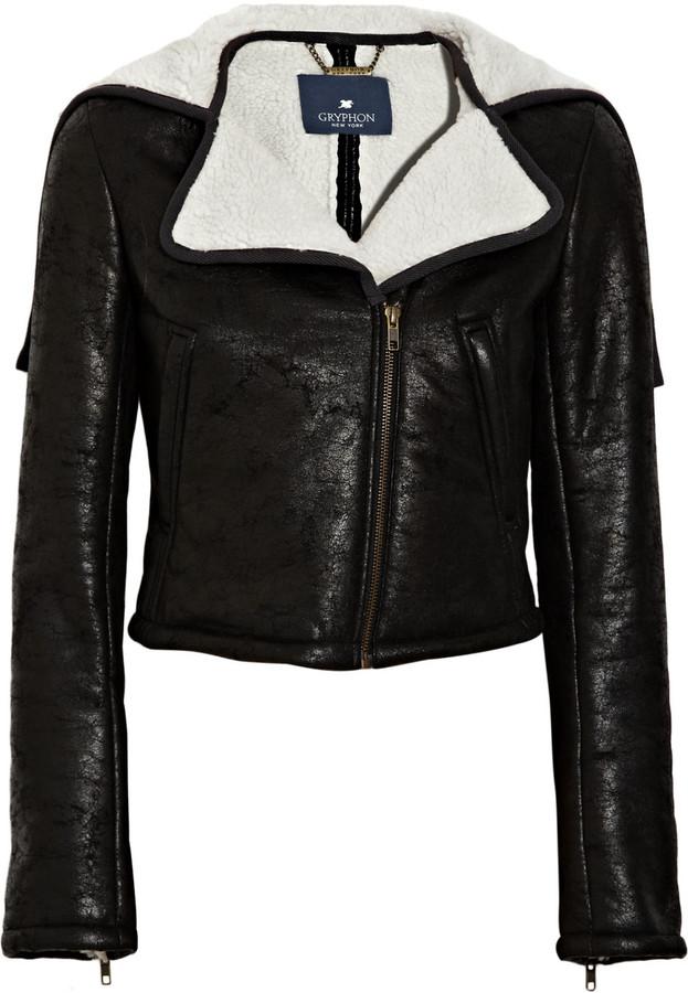 Gryphon Faux shearling biker jacket