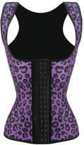 Honeystore Women's Latex Top Bustier Waist Cincher Trainer Corset Body Shapewear Purple Leopard Straps S