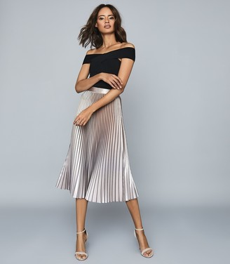 Reiss BETTY Pleated metallic midi skirt Pink