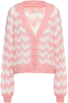 By Ti Mo Striped Pointelle-knit Cardigan