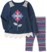 Kids Headquarters Navy Floral Tunic & Geometric Leggings - Infant, Toddler & Girls