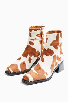 Topshop Womens Mystic Cow Print Leather Square Toe Boots - Monochrome