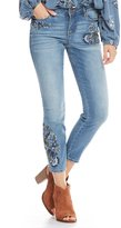 Miraclebody Jeans Ideal Ankle Floral Embroidered Destruction Detail Jeans