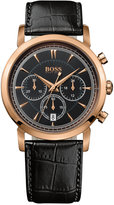 Hugo Boss Watch, Men's Chronograph Black Leather Strap 42mm HB1013 1512781