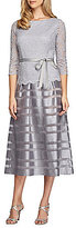 Alex Evenings Belted Lace Tea Length Mock 2-Piece Dress