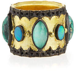 Armenta Green Turquoise & Opal Band Ring