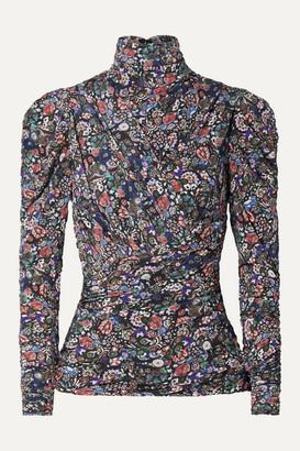 Isabel Marant Jalford Ruched Floral-print Stretch-jersey Turtleneck Top - Black