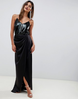 ASOS DESIGN satin wrap maxi skirt