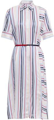 Altuzarra Belted Striped Wool-blend Midi Shirt Dress