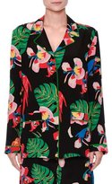 Valentino Tropical Dream Silk Pajama Blouse, Multi