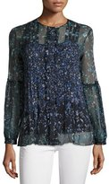 Elie Tahari Mitsy Pleated Floral Silk-Chiffon Blouse, Navy