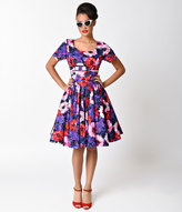 Unique Vintage Purple Floral Roman Holiday Sleeved Scallop Swing Dress