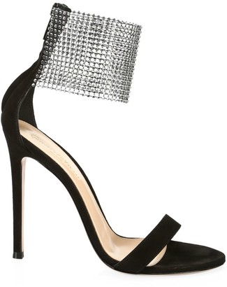 Gianvito Rossi Crystal Beaded Cuff Suede Sandals